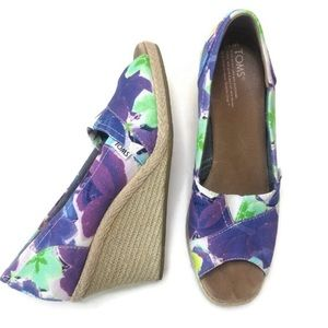 Toms Floral Straw Wedges Purple Green